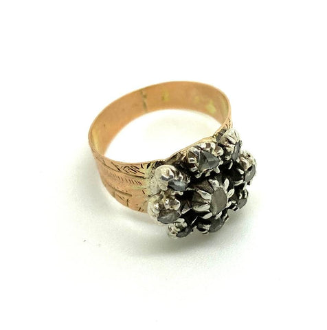 GEORGIAN Ring Antique Georgian Rose Cut Diamond Gold Ring