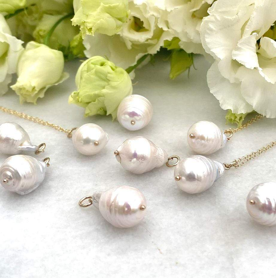 HANDMADE Necklace Freshwater Baroque Pearl Drop 9ct Gold Necklace