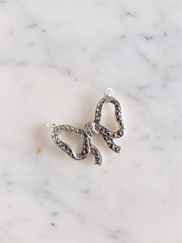Reserved - Vintage 1930s Silver Marcasite Bow Necklace