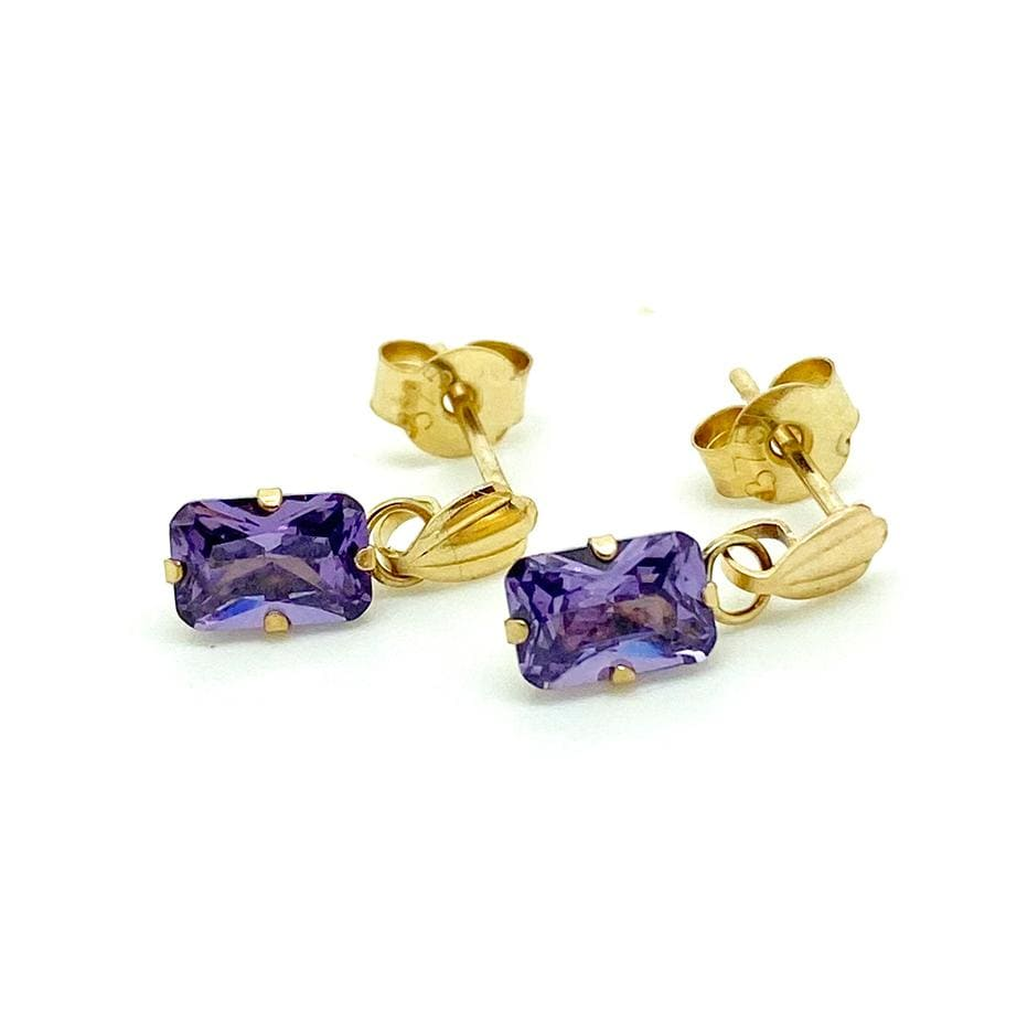 mayvedajewellery Vintage 1970s Amethyst 9ct Gold Drop Stud Earrings