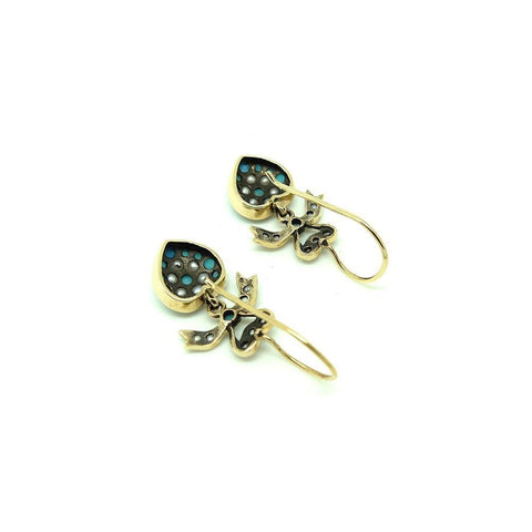 Modern Victorian Style Turquoise 9ct Gold Earrings