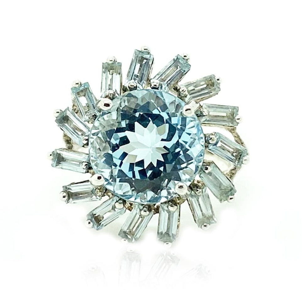 MODERN Ring Blue Topaz Silver Flower Silver Ring