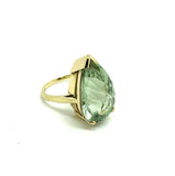 MODERN Ring Pear Cut Prasiolite 9ct Yellow Gold Ring