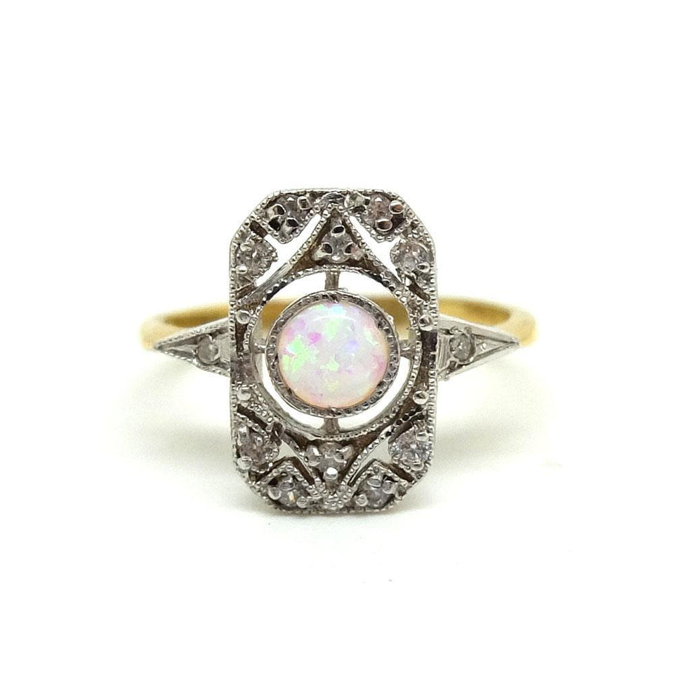RESERVED - MAI - Modern Art Deco Style Opal Silver Ring
