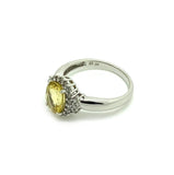MODERN Ring Yellow Sapphire Diamond 9ct White Gold Ring
