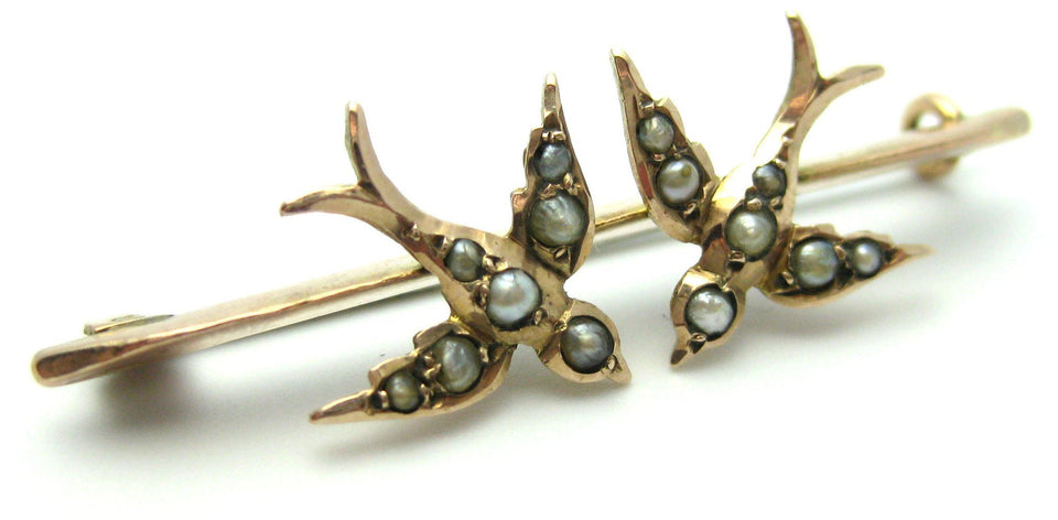 Vintage Gold Swallow Bar Brooch