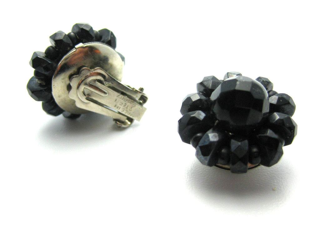 Vintage Beaded Black Glass Earrings