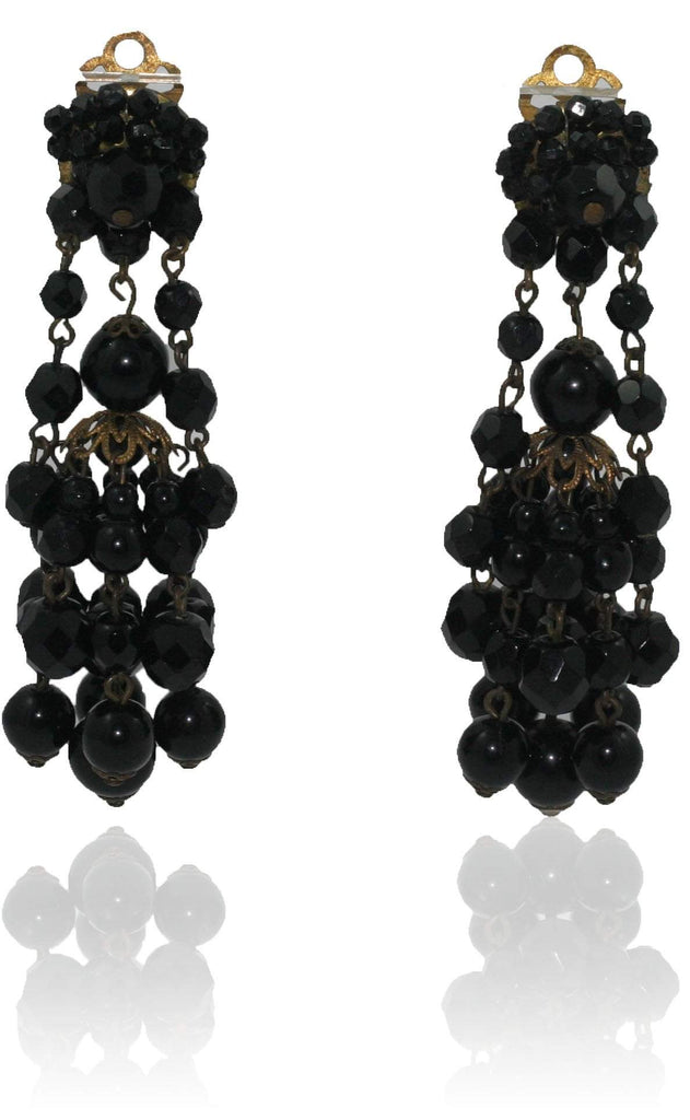 Vintage Black Glass Chandelier Earrings