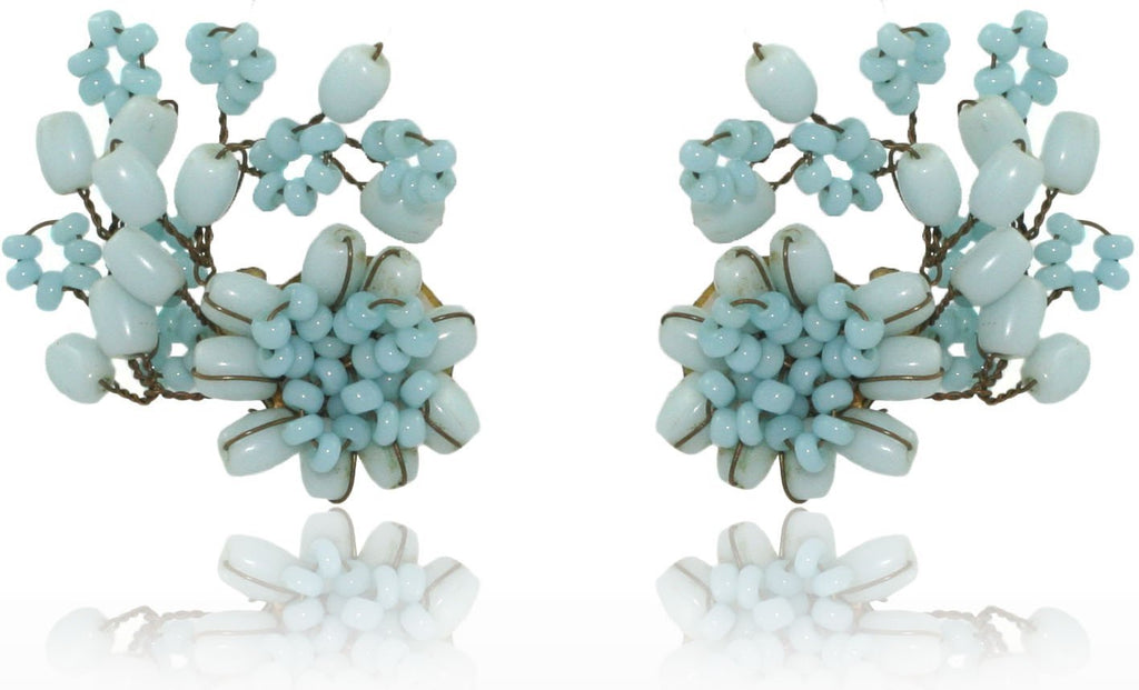 Vintage Blue Flower Clip on Earrings
