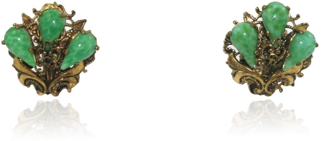 Vintage Green Flower Clip Earrings
