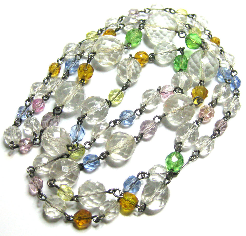 Vintage 1920s Pastel Beaded Necklace