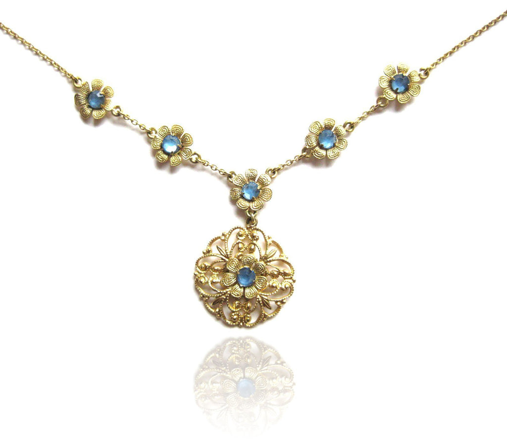 Vintage 1920s Rolled Gold Flower Necklace