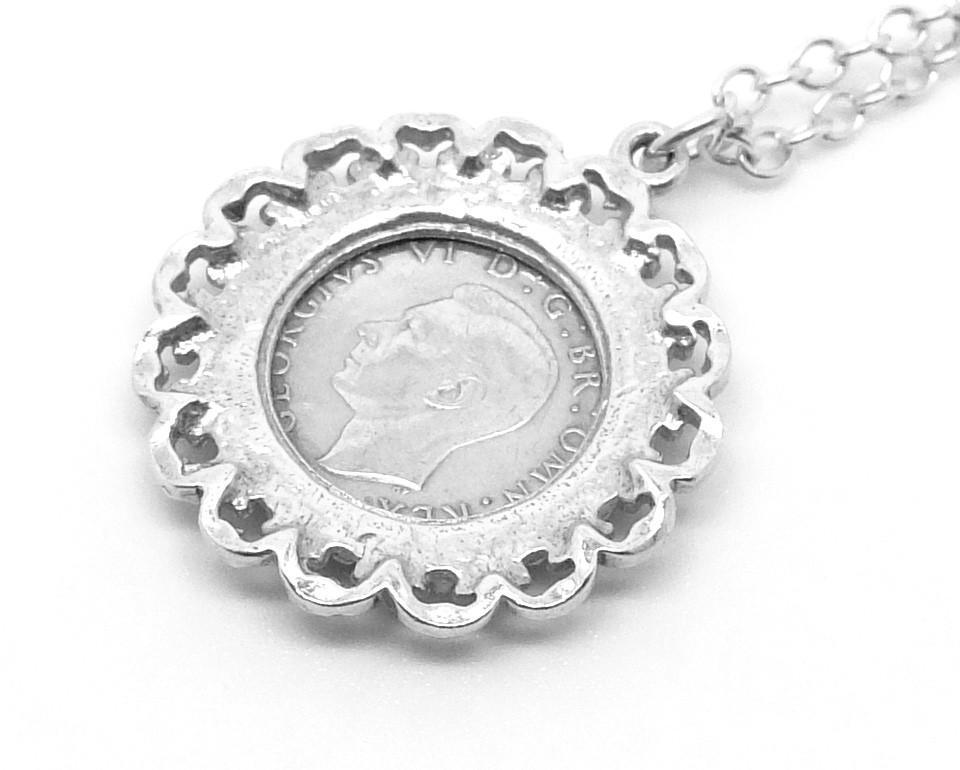 Vintage 1941 Three Pence Sterling Silver Pendant