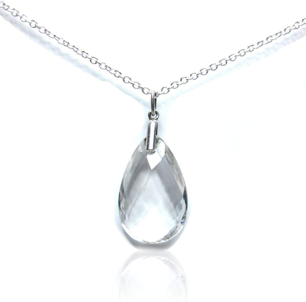 Vintage Crystal Silver Pendant Necklace