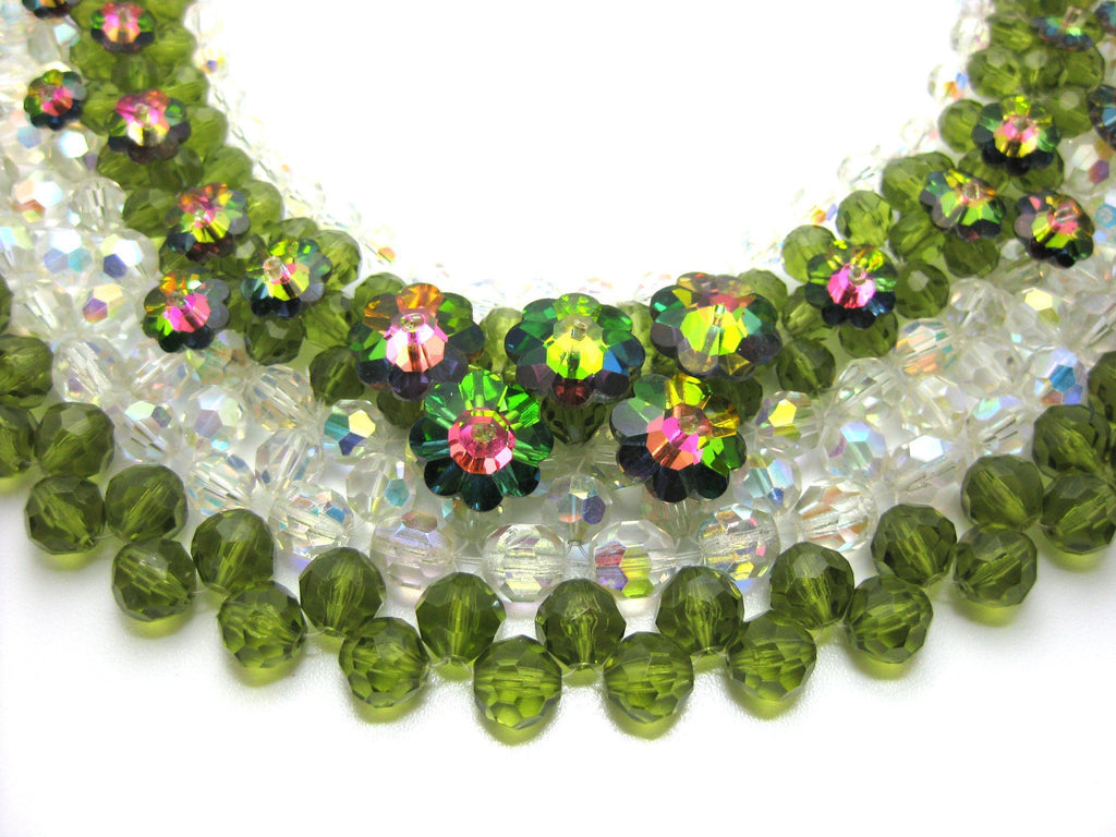 Vintage Green Flower Collar Necklace