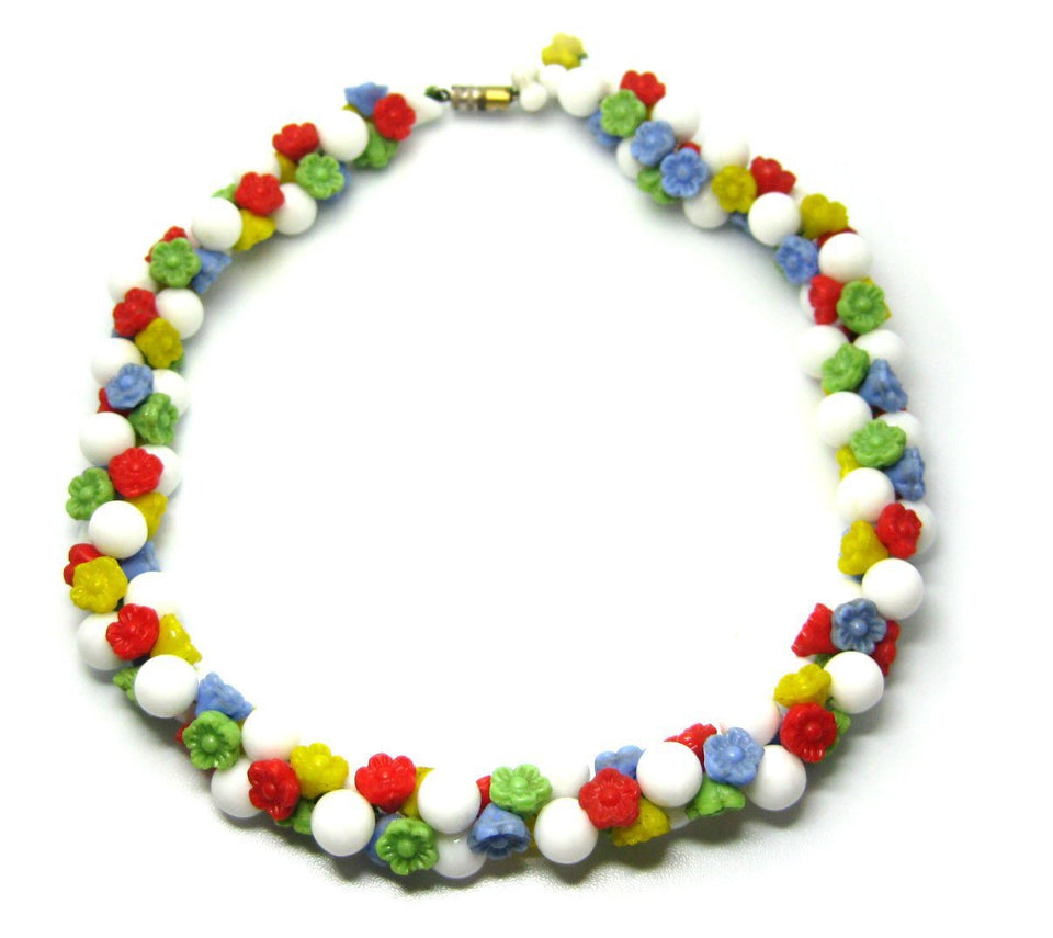 Vintage Multicoloured Glass Flower Necklace