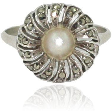 Vintage Silver Marcasite and Pearl Ring