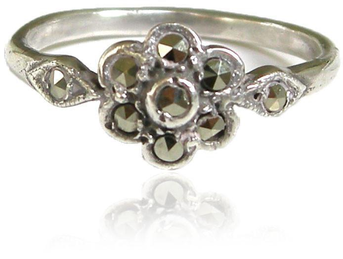 Vintage Silver Marcasite Flower Ring