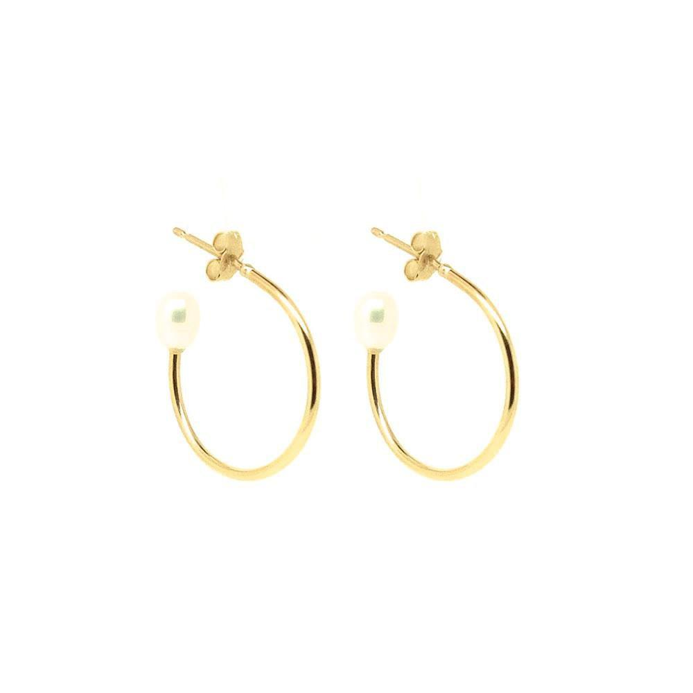 Handmade Pearl 9ct Yellow Gold Hoop Earrings