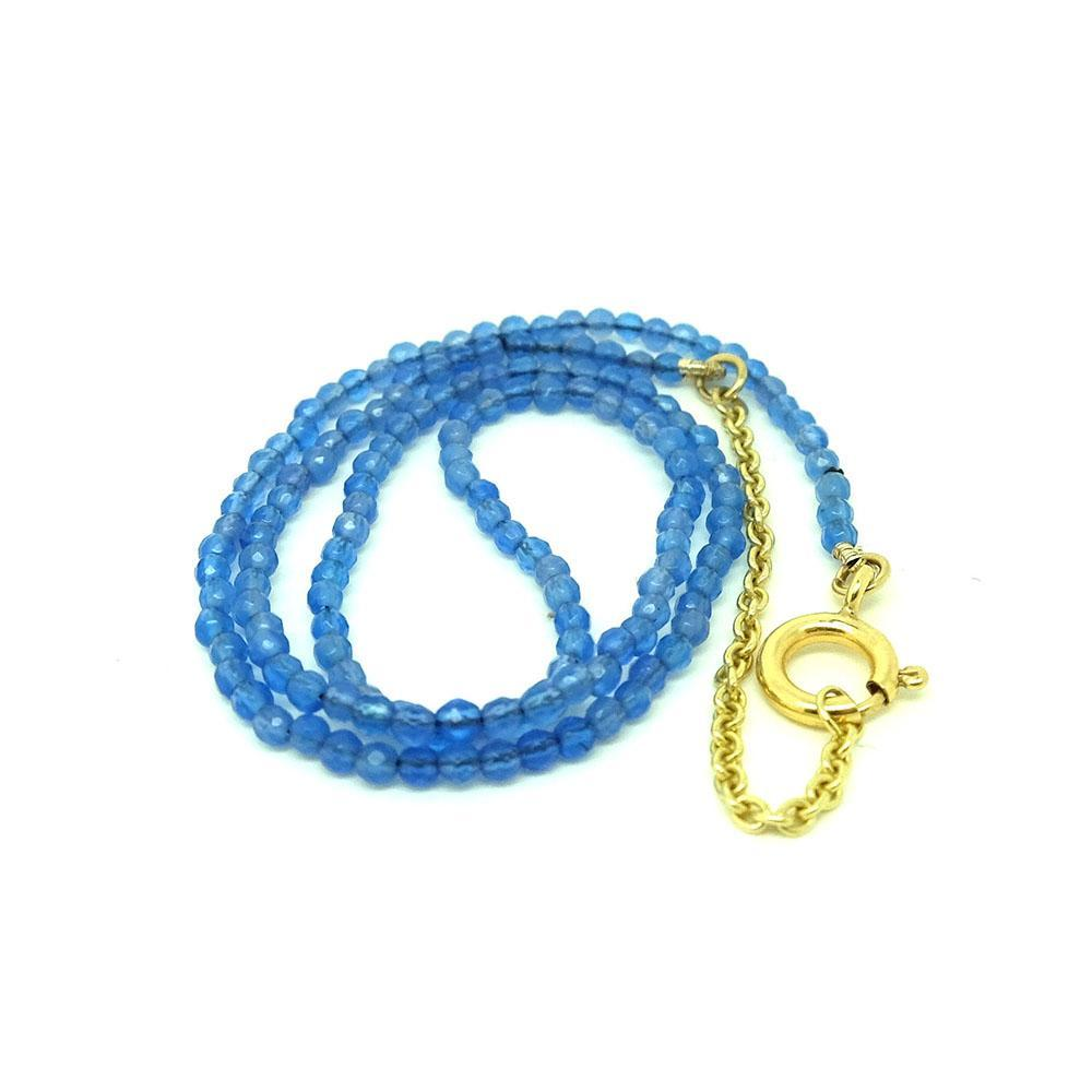 Blue Agate 9ct Yellow Gold Beaded Choker Necklace