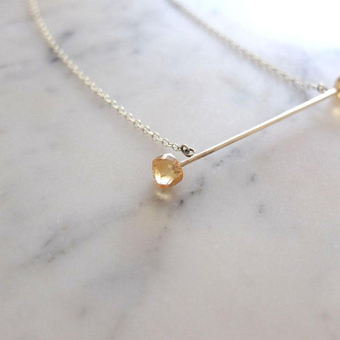 Bobbie Necklace | Handmade 9ct Yellow Gold Citrine Gemstone Bar Necklace