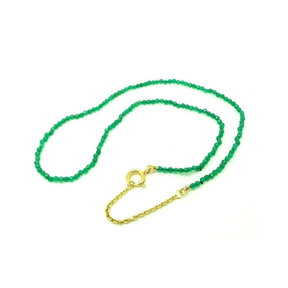 Green Agate 9ct Yellow Gold Beaded Choker Necklace