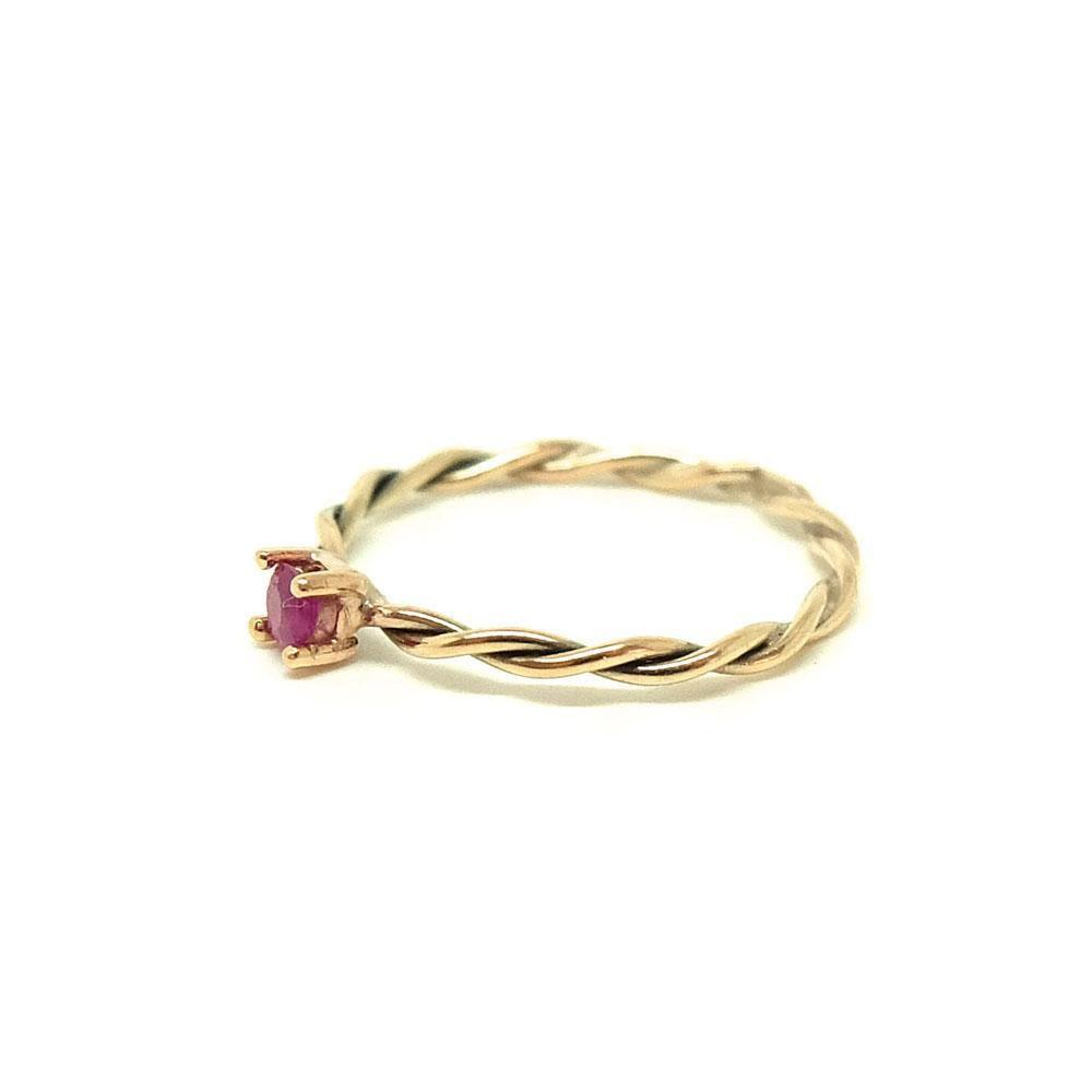 Handmade Twisted 9ct Yellow Gold Ruby Ring