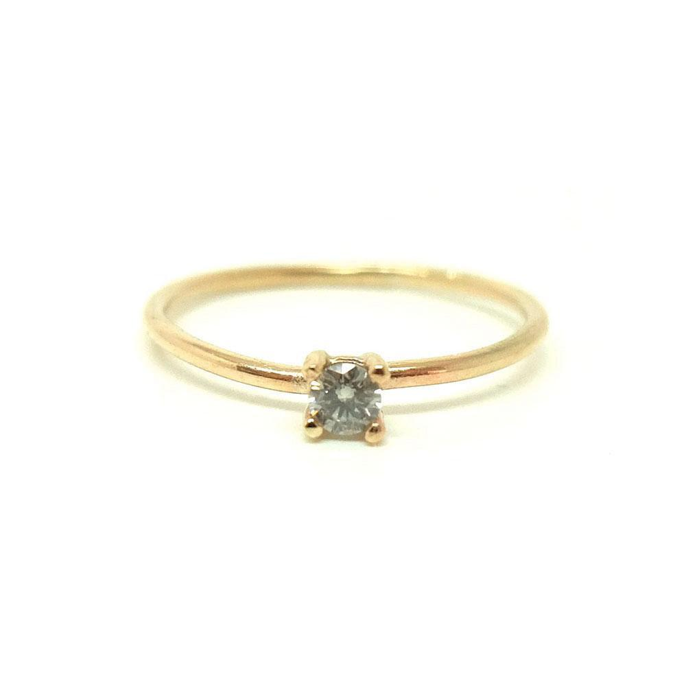 Handmade 9ct Yellow Gold 0.44ct Grey Diamond Ring