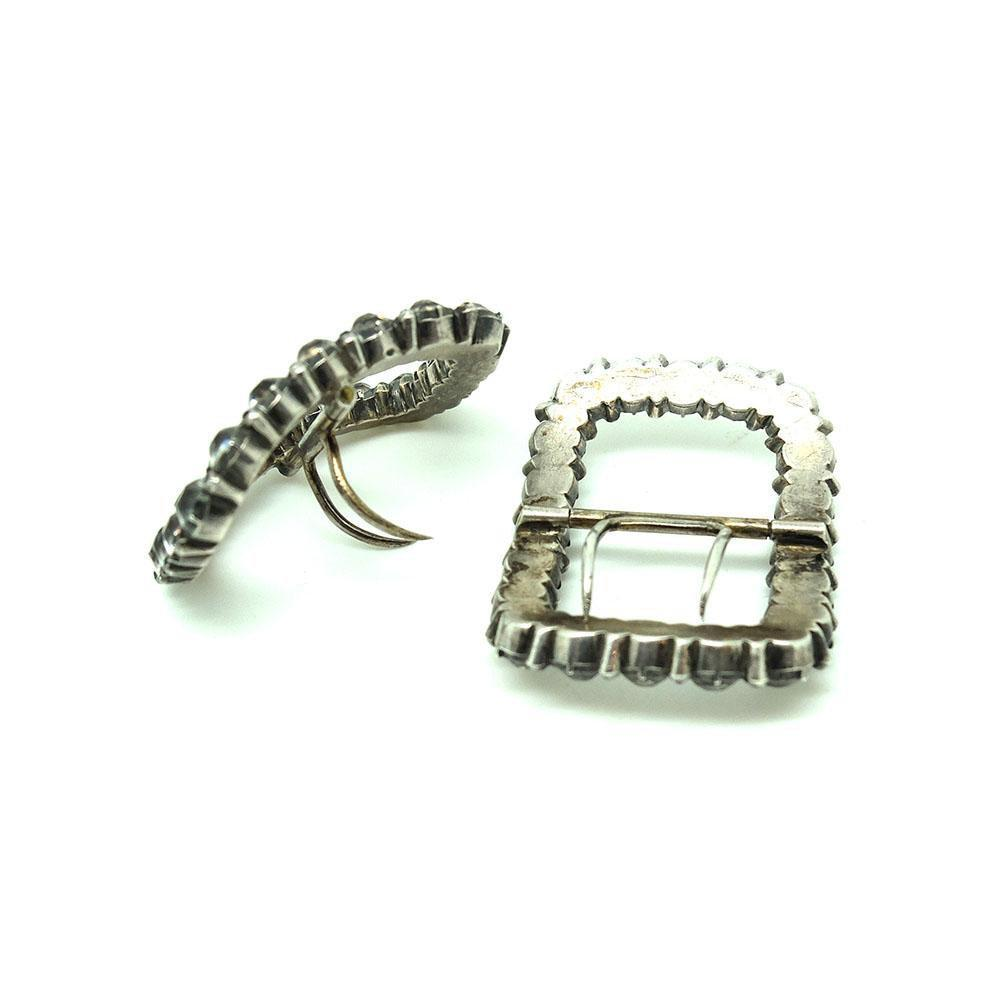 Antique 1900 Victorian Silver Paste Buckles
