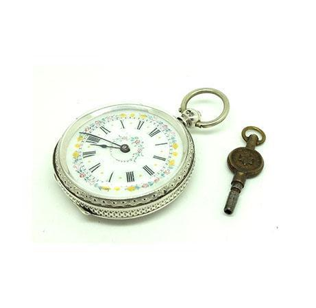 Antique Victorian 1882 Sterling Silver Pocket Watch