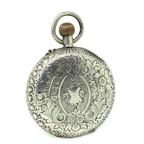 VICTORIAN Accessory Antique Victorian Sterling Silver Pocket Watch