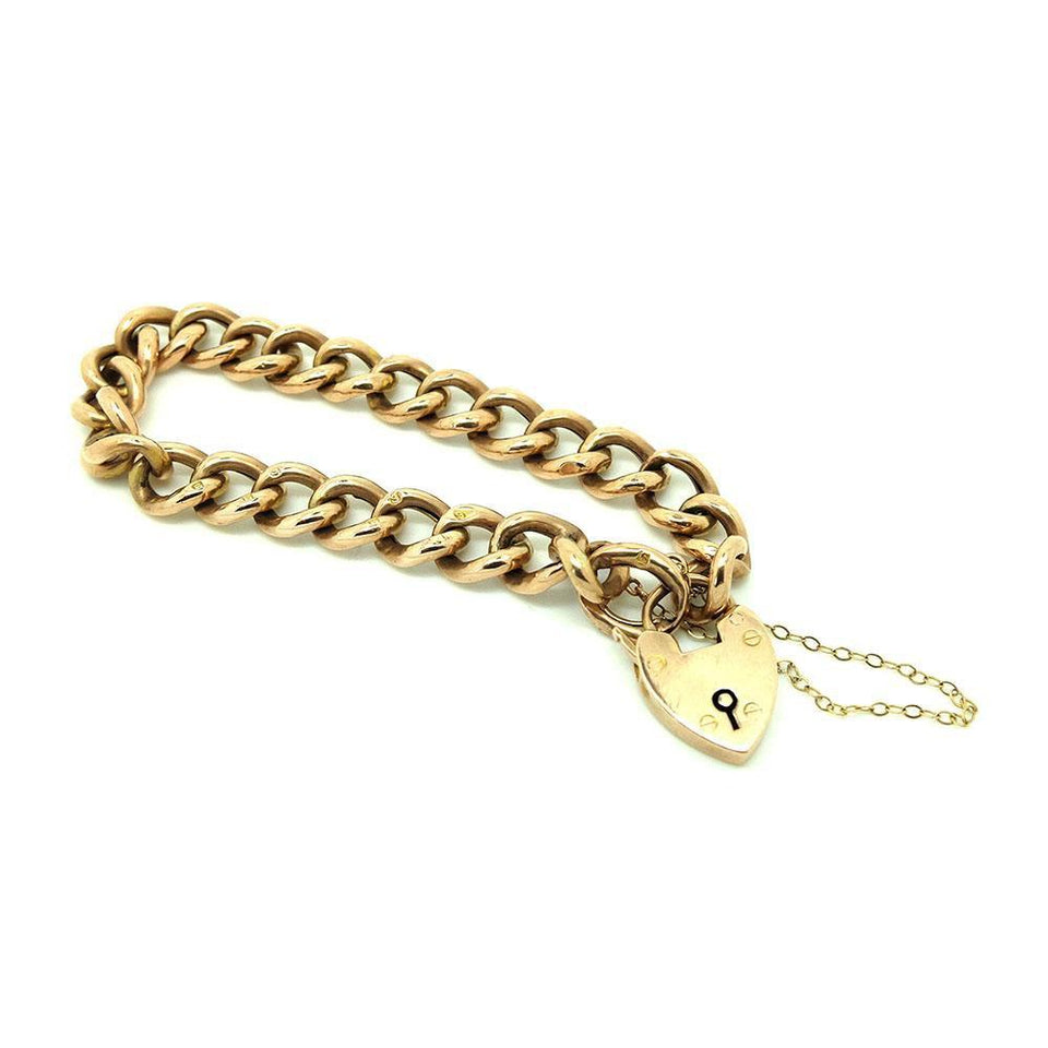 Antique Victorian 1900 9ct Rose Gold Albert Curb Chain Heart Bracelet