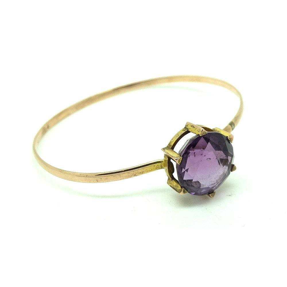 Antique Victorian Amethyst 9ct Rose Gold Bangle Bracelet
