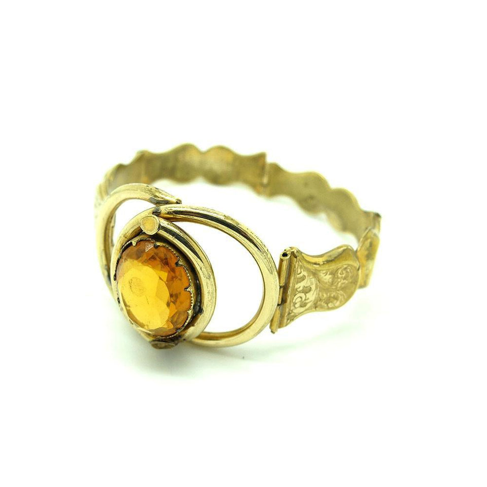 Antique Victorian Pitchbeck Amber Glass Bracelet