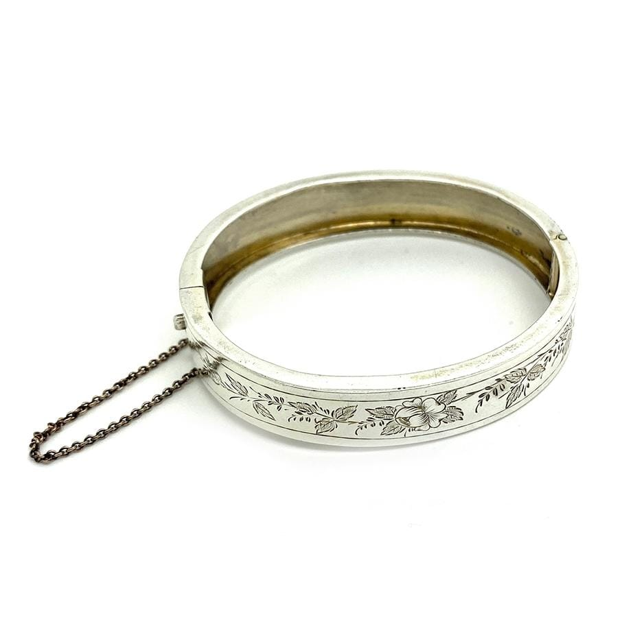 VICTORIAN Bracelet Antique Victorian Sterling Silver Ornate Bangle Bracelet