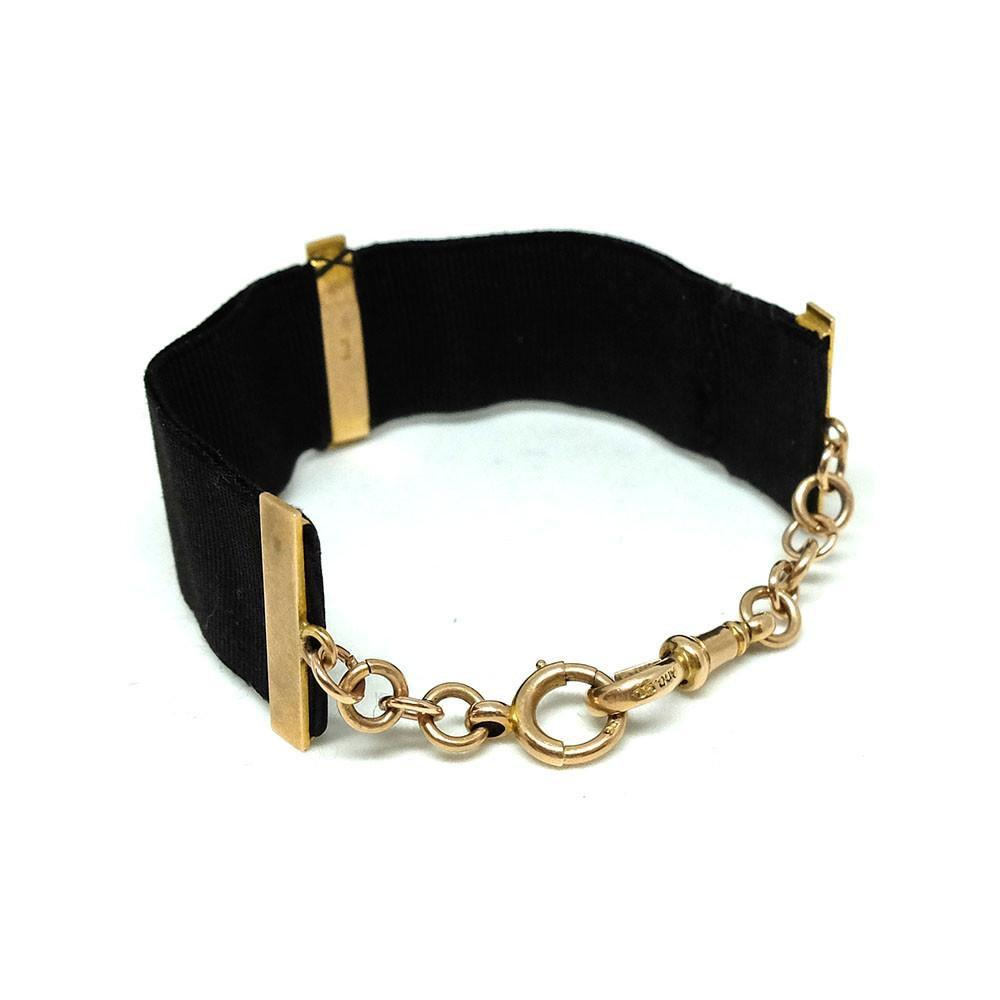 Antique Victorian Watch Silk Chain 9ct Gold Bracelet