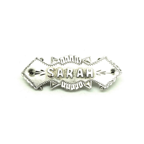 Antique 1869 Victorian Silver 'Sarah' Name Brooch
