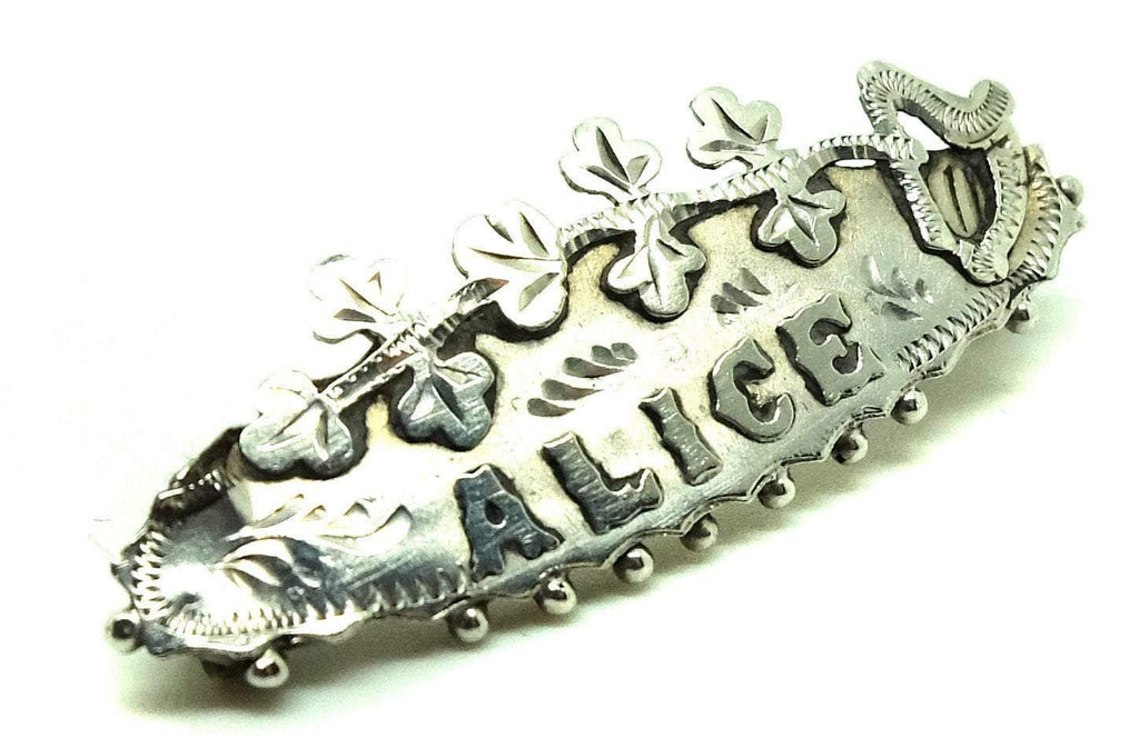 Antique Victorian (1837-1901) 'Alice' Sterling Silver Name Brooch