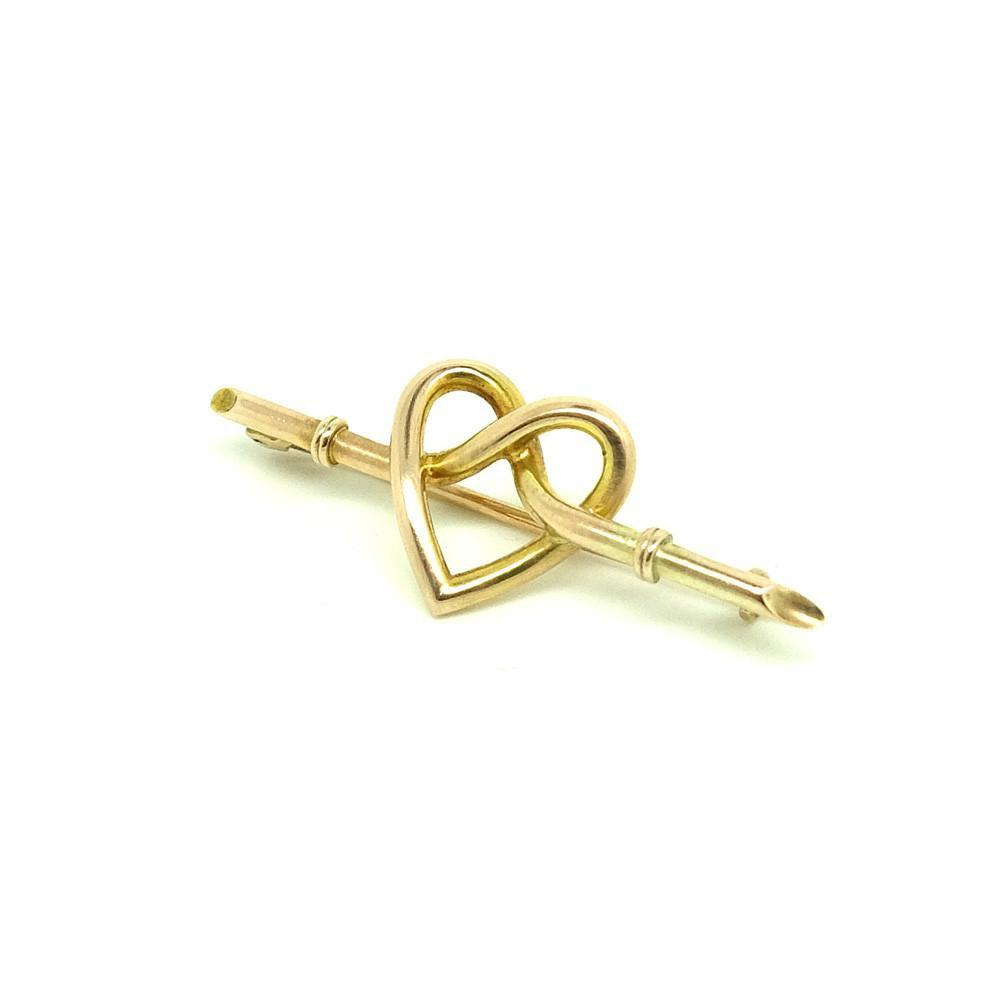 Antique Victorian (1837-1901) Bamboo 9ct Yellow Gold Heart Brooch