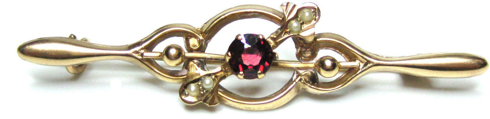 Antique Victorian (1837-1901) Gold Garnet Brooch