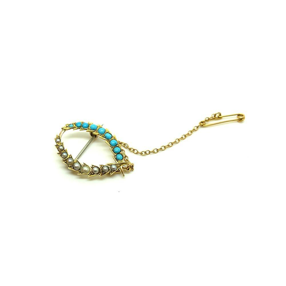 Antique Victorian (1837-1901) Pearl & Turquoise Gold Brooch