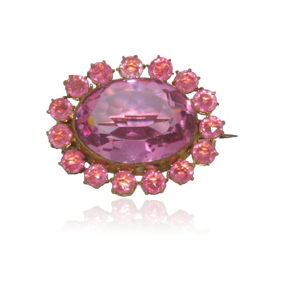 Antique Victorian (1837-1901) Pink Glass Brooch