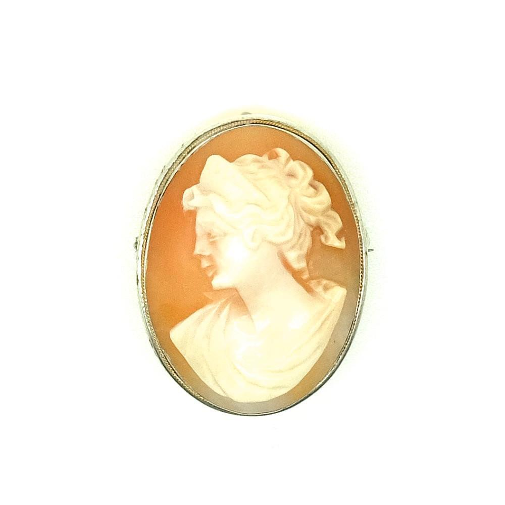Antique Victorian (1837-1901) Sterling Silver Cameo Brooch