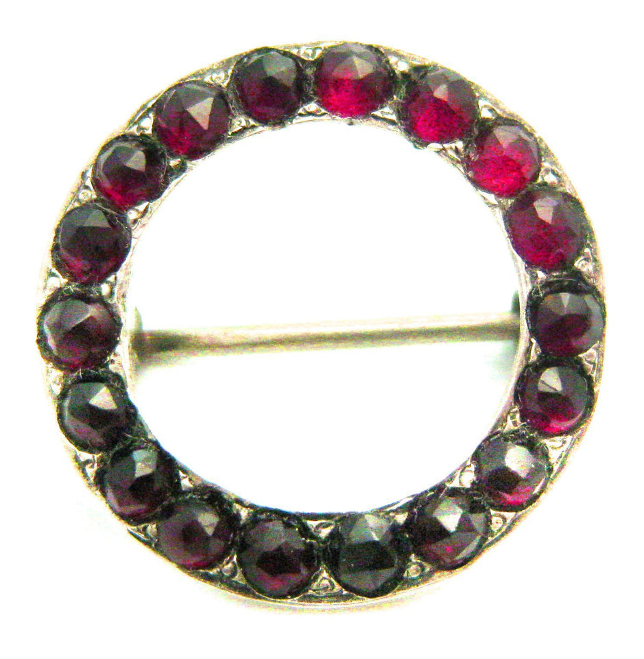 Antique Victorian (1837-1901) Sterling Silver & Garnet Gemstone Brooch