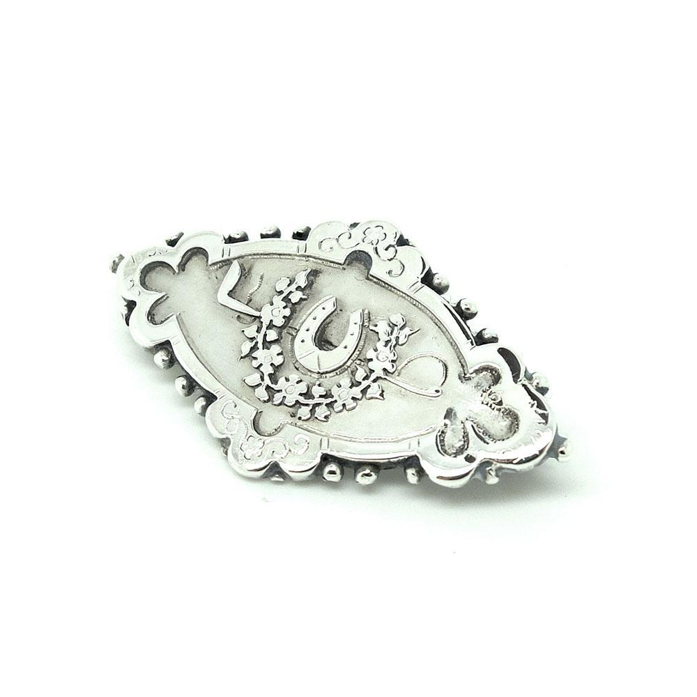 Antique Victorian 1888 Good Luck Horseshoe Sterling Silver Brooch