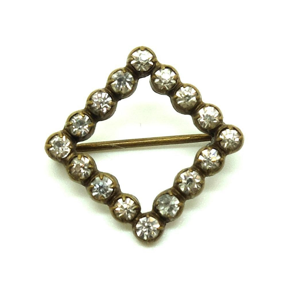 Antique Victorian 1890 Paste Square Brooch