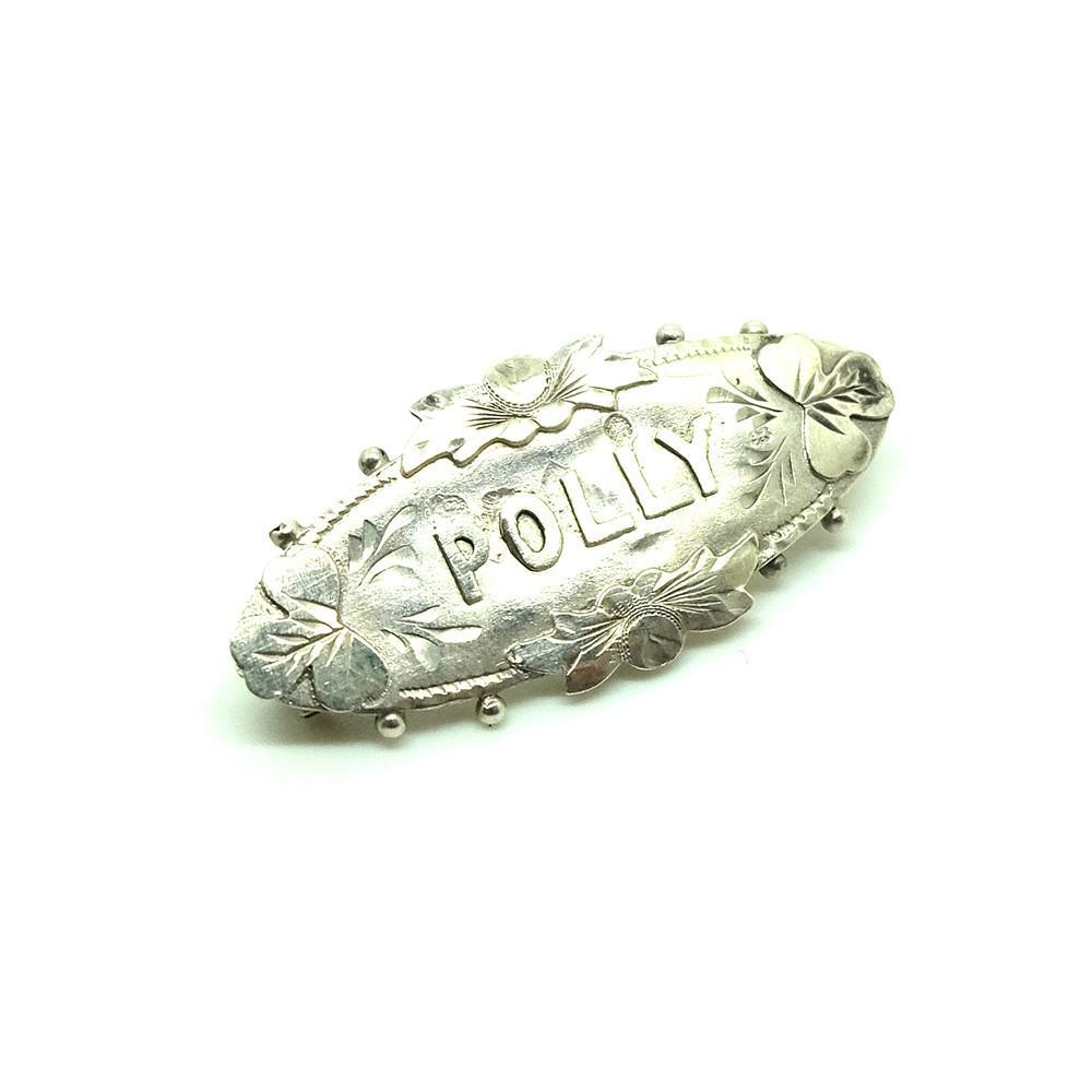 Antique Victorian 1895 Silver Antique Name Brooch 'Polly'