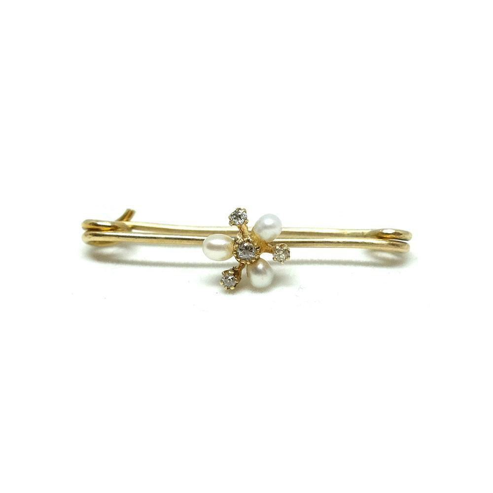 Antique Victorian 9ct Gold Diamond & Pearl Bar Gemstone Brooch