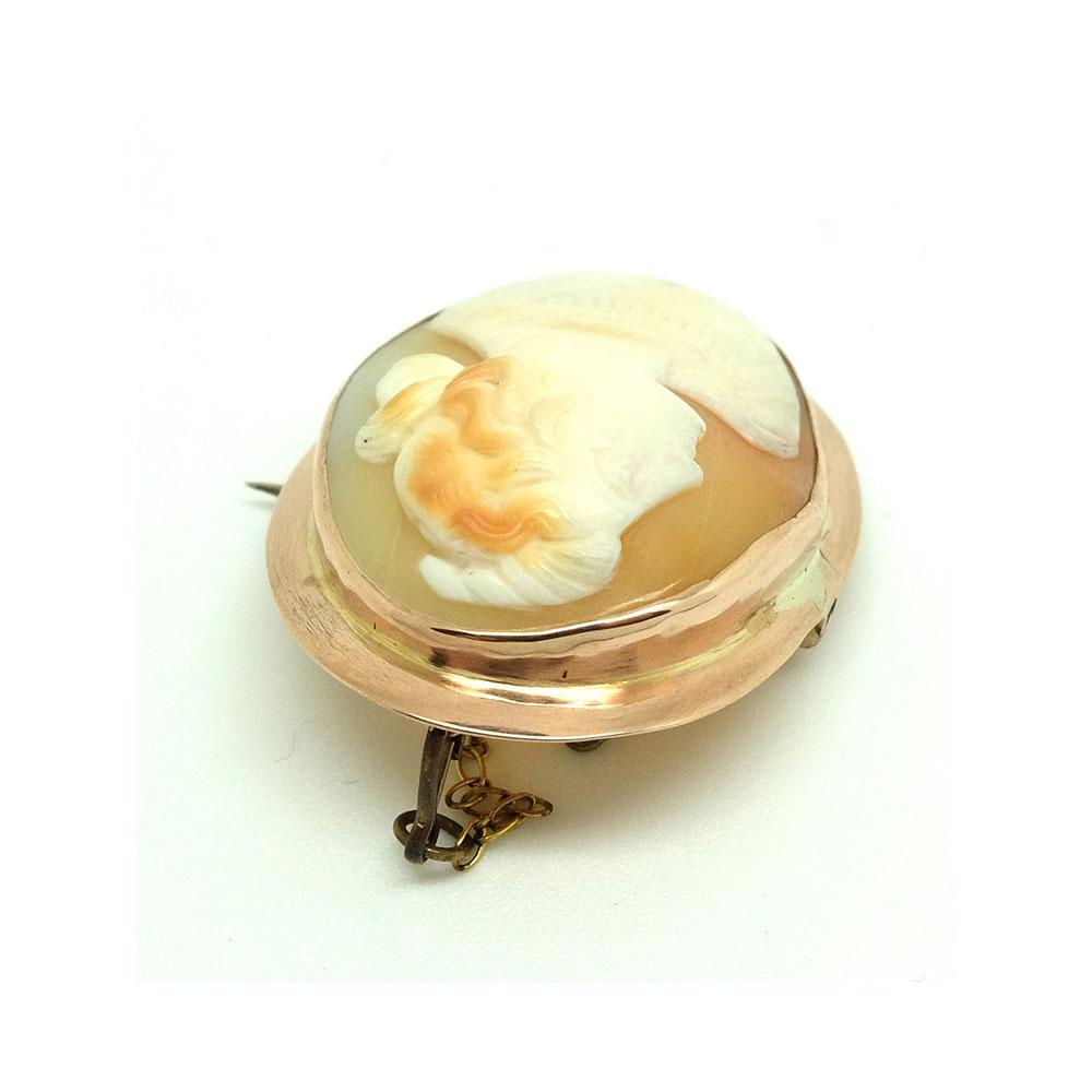 Antique Victorian 9ct Rose Gold Cameo Brooch