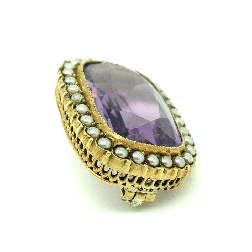 Antique Victorian Amethyst Glass Seed Pearl Brooch